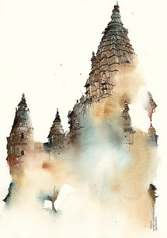 Watercolor paintings by Sunga Park on Behance ~ Chaturbhuj Temple, Orchha, India. Pen And Watercolor, Watercolor Artwork, Watercolor Landscape, Watercolor Illustration, Landscape Paintings, Watercolor Scenery, Watercolor Architecture, Architecture Art, Art Aquarelle