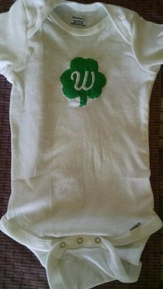 St.Patrick's Day fabric applique onsie with monogram.