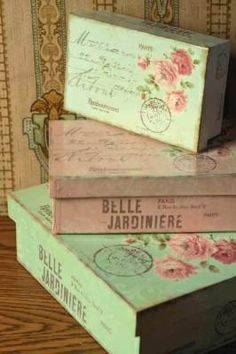 Shabby Cottage Chic Romantic Decor: Pink and Green Rose Print Stacking Storage Boxes <3