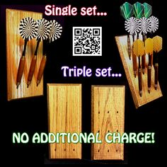 Custom dart rack and desktop display - Multiple styles! Light , Medium , Dark Oak, Ebony, Clear Coat - FREE FEET and Keyholes!!