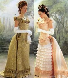 Victorian Gown / Costume pattern (not very accurate, but pretty) Victorian Era Dresses, Victorian Ball Gowns, Victorian Fancy Dress, Victorian Costume, Edwardian Dress, Edwardian Costumes, Victorian Ladies, Vintage Costumes, Vestidos Vintage