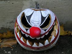Evil Clown Pumpkin Rot Stage 2 by PedestrianXArt, via Flickr Clown Halloween…