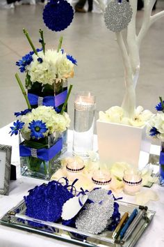 Felien Torres Lyn - square vases on wishing tree table - 45th sapphire blue wedding anniversary
