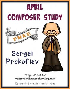 Learn more about one composer each month. April is Sergei Prokofiev. Pack includes bio page, poster page, word search, notebooking pages Music Lessons, Piano Lessons, Sergei Prokofiev, Piano Teaching, Learning Piano, Teaching Orchestra, Kids Learning, Music School, Music Composers
