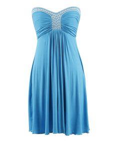 Look at this #zulilyfind! Turquoise Embroidered Strapless Dress - Women by Peppermint Bay #zulilyfinds