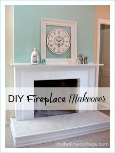 Fireplace Mantel & Hearth Makeover. #fireplace #mantel #DIY not in love with the hearth, but I do love the wall that comes out just a bit above the mantel.