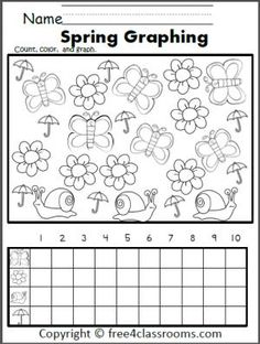 Free Spring Graphing Worksheet.  Color, count, and graph the spring pictures.