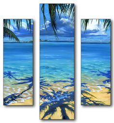 Palm Tree Shadows Triptych Art Wood Sign at AllPosters.com