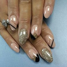 Nude, Gold, and Black Nails #nails #nailart #naildesign