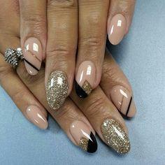 Nude, Gold, and Black Nails #nails #nailart #naildesign