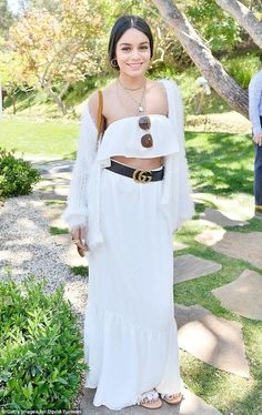Vanessa Hudgens wearing Gucci Crocodile Belt with Double G Buckle and Endless Summer Lola Set
