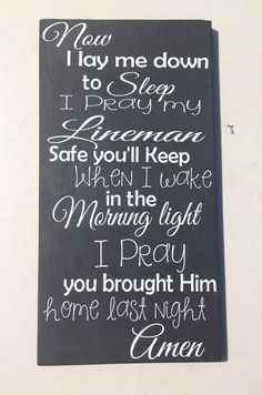 Lineman Prayer wood sign by MommysCraftyCloset on Etsy