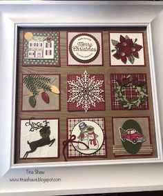 What fun to Make a Christmas Sampler this year! I looked and looked at other Demonstrators Samplers this year and some previous years, and. Christmas Box Frames, Christmas Shadow Boxes, Christmas Collage, Christmas Ornament Crafts, Noel Christmas, Christmas Projects, Handmade Christmas, Holiday Crafts, Christmas Layout