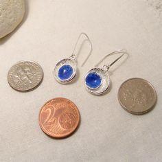 Ohrhänger - Sapphire Blue Silver Saatschalen Emaille Ohrringe - ein Designerstück von lukelys bei DaWanda