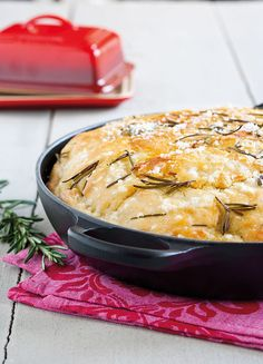 Focaccia Bread with Rosemary in Le Creuset Signature Baker