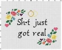 Sht just got real Wedding Cross Stitch Pattern by SnarkyArtCompany
