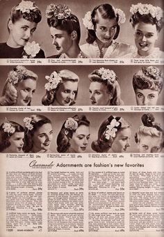 A beautiful array of 1940s hair accessories. #vintage #fashion #hair #1940s