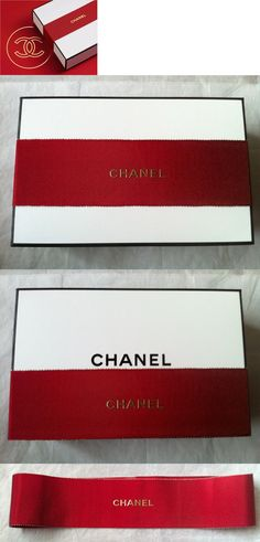 Gift Boxes 102380: Authentic Chanel Signature Medium Gift Box White+Ribbon+Tissue Empty Vanity New -> BUY IT NOW ONLY: $34.95 on eBay!