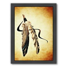 "East Urban Home 'Feather Bird Paint' Framed Graphic Art Size: 25"" H x 19"" W x 1.5"" D"