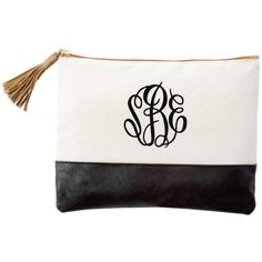Monogrammed Chelsea Cosmetic Bag with Tassle - Mudpie Bag - Small Tote... ($23) ❤ liked on Polyvore featuring beauty products, beauty accessories, bags & cases, bags, purses, monogram, purse makeup bag, make up bag, cosmetic purse and makeup bag case