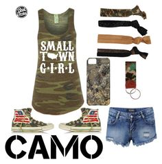 """""""<3camo"""" by watsonsheep ❤ liked on Polyvore featuring Converse, Glam Bands and camostyle"""