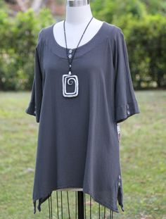 OH MY GAUZE Cotton Lagenlook MARCY Long Tunic Top 1 (M/L/XL) 2 (XL/1X) GRAPHITE