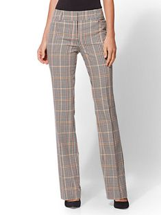 Avenue Pant - Tall Gold Plaid Bootcut - Modern - New York & Company Fashion Pants, Fashion Outfits, 7 Avenue, Plaid Pants, Plus Size Womens Clothing, Business Outfits, New Wardrobe, Pants Outfit, Online Shopping Clothes