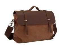 Kattee® Men's Vintage Canvas and Genuine Leather Briefcase Messenger Crossbody Laptop Bag from Kattee