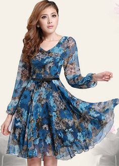 Women Floral Prints Chiffon Beach Party Gown Spring Mini Dress Plus Size Cute Dresses, Vintage Dresses, Beautiful Dresses, Casual Dresses, Fashion Dresses, Dresses With Sleeves, Cheap Dresses, Women's Dresses, Dresses 2016