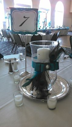 Wedding Bliss - Faded Velvet - hand-made peacock centerpiece