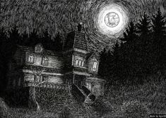 """""""The Marten's house"""" (by Agustin SB) appears in """"Salem's Lot"""", novel by Stephen King. Done with black ink on paper Image Painting, Painting & Drawing, Salem Lot, Interesting Buildings, Digital Art, Ink, Art Prints, Gallery, Drawings"""