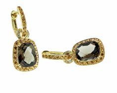 Yellow Gold Smoky Quartz and Citrine Drop Earrings - Brisbane Jeweller - Gold Jewellery - MONTASH Jewellery Design - www.montash.com.au