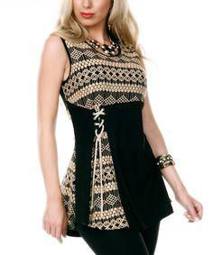 Love this Black & Beige Geo Embroidered Sleeveless Tunic on #zulily! #zulilyfinds