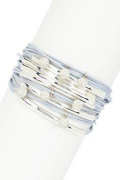 Pave Swarovski Austrian Crystal Round Charm Multi-Strand Tube Bracelet