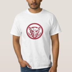 Wild Boar Razorback Head Angry Circle Retro T-shirt. Illustration of an angry wild pig boar razorback head viewed from the front set inside circle done in retro style. #Illustration #WildBoarRazorbackHead
