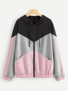 Shop Plus Colo-block Drawstring Detail Hooded Windbreaker Jacket online. SHEIN offers Plus Colo-block Drawstring Detail Hooded Windbreaker Jacket & more to fit your fashionable needs. Windbreaker Jacket, Hooded Jacket, Fashion News, Fashion Outfits, Plus Size Coats, Jeans Dress, Hoodies, Sweatshirts, Women's Dresses