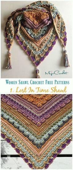 Crochet For Beginners Lost In Time Shawl Crochet Free Pattern - Trendy Women Crochet Shawl Free, Crochet Wrap Pattern, Crochet Shawls And Wraps, Crochet Scarves, Crochet Stitches, Crochet Patterns, Crochet Hats, Crochet Prayer Shawls, Crochet Tutorials