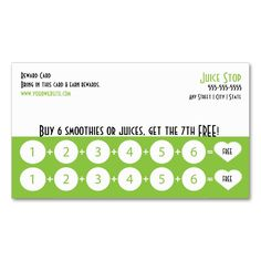 Smoothie and Juice Bar Business Card Loyalty Card. This is a fully customizable business card and available on several paper types for your needs. You can upload your own image or use the image as is. Just click this template to get started!