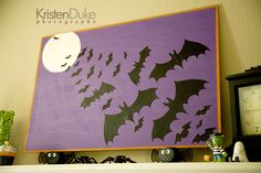 Batty for Halloween: Glow in the Dark Bat Artwork ~my crafty project perfect for decorating your home and mantel for Spooky fun!  KristenDuke.com