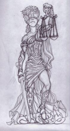Lady Justice Sketch by on DeviantArt Girl Neck Tattoos, Leg Tattoos Women, Back Tattoo Women, Hair Tattoos, Body Art Tattoos, Sleeve Tattoos, Vendetta Tattoo, Metallica Tattoo, Justice Tattoo