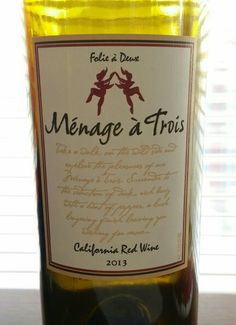 Menage a Trois Folie a Deux 2013 California red. USA. 13.5 % alcohol. $16. A blend of Zinfandel, Merlot and Cabernet Sauvignon. Jammy raspberry and plum nose and blackberry and raspberry flavors. Sweet finish.Good for grilled meats and chicken dishes. 88pts.