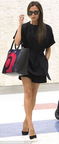 Sophisticated style: The mother-of-four dressed for her transatlantic flight in a simple b...