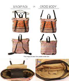 Convertible Bag Gypsy Boho Hippie Cross body/Backpack by TaTonYon