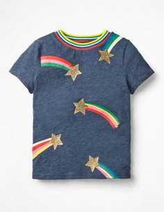 Time-to-Shine T-shirt Short Sleeved Tops at Boden Cute Girl Outfits, Toddler Outfits, Tween Fashion, Toddler Fashion, Kids Wardrobe, Recycled Fashion, Kids Prints, Mode Online, Girl Falling