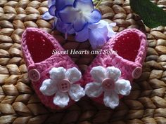 Pink Petal Toes handmade crochet Baby Janes Shoes are perfect with flowery Spring outfits!