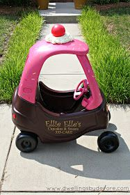 She bought one of those plastic kids cars at a yard sale, and painted it to look like a cupcake delivery car for her little girl. One of the coolest things I've found!