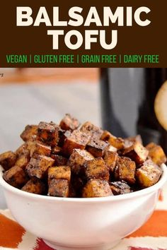 tofu will make even the biggest skeptic asking for more. Crispy and flavorful, this balsamic tofu is sure to please any crowd! Tofu Recipes, Vegetarian Recipes, Cooking Recipes, Healthy Recipes, Tofu Dinner Recipes, Tofu Meals, Shrimp Recipes, Healthy Meals, Delicious Recipes