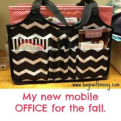 Keep-It Tote in our New Black Chevron pattern. It has 2 Exterior pockets, 4 pen pockets, 2 side mesh pockets. And Fold N File