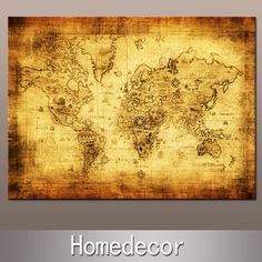 Huge Ancient Nautical Sailing World Map painting oil modern painting printing canvas no frame Home/bedroom Decoration $25.00