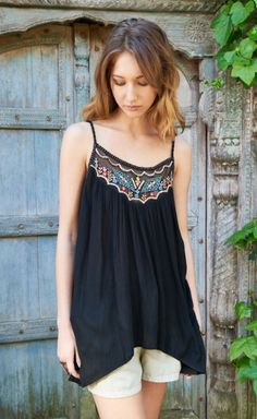 29e3ac9c41 Embroidered Bodice Flowing Tank Top.  earthboundtrading Everyday Fashion